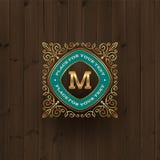 Golden monogram logo template stock illustration