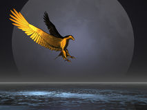 Golden Moon Eagle. Golden eagle above the sea and against the moon Royalty Free Stock Photos