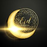Golden moon with floral decoration for eid mubarak festival Royalty Free Stock Photography