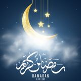Golden moon with hanging stars in clouds. Greeting card for Ramadan Kareem. Religion Holy Month. Eid Mubarak. Hand drawn arabic stock illustration