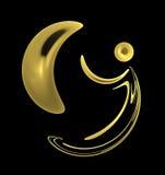 Golden moon and man symbol Stock Photos