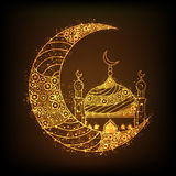 Golden Moon with Mosque for Islamic Festivals celebration. Beautiful floral design decorated, Glowing Golden Crescent Moon with Mosque on brown background for Stock Images