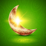 Golden Moon for Muslim Community Festival Eid Mubarak. On Dark Background. Vector Design Royalty Free Stock Photos