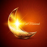 Golden Moon for Muslim Community Festival Eid Mubarak. On Dark Background. Vector Design Stock Photo