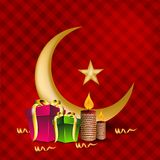 Golden Moon with Star and gift boxes. For celebration of Eid Mubarak festival. EPS 10 Stock Photos