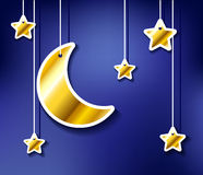 Golden moon and stars hanged Stock Images
