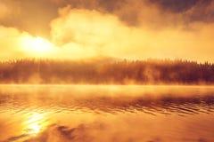 Free Golden Morning Fog On The Lake Stock Photo - 73611540