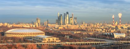 Golden morning light over Moscow city with the Luzhniki Stadium stock photography