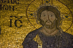 Golden Mosaic. A details of a mosaic of Jesus Christ in Hagia Sophia Stock Photos