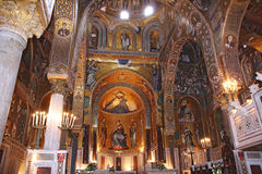 Golden mosaic in Cappella Palatina Stock Images