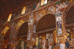 Golden mosaic in Cappella Palatina Royalty Free Stock Image