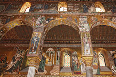 Golden mosaic in Cappella Palatina Royalty Free Stock Images