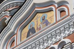 Golden mosaic icon on Cathedral in Tallinn, Estonia Stock Photo