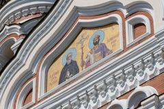 Golden mosaic icon on Cathedral in Tallinn, Estonia Stock Photo