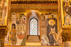 Golden mosaic in La Martorana church, Palermo, Italy. Golden mosaic in La Martorana church in Palermo, Italy stock photo