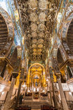 Golden mosaic in La Martorana church, Palermo, Italy Royalty Free Stock Photo