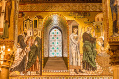 Golden mosaic in La Martorana church, Palermo, Italy Stock Image