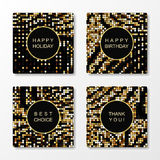 Golden mosaic patterned greeting cards. Can be used for holiday invitations and promotional mailing vector illustration