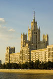 Golden Moscow 1. A view of a highrise Stalin epoque building in Moscow Russia Royalty Free Stock Photo