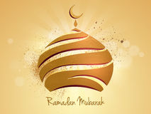 Golden mosque for Ramadan Mubarak celebration. Royalty Free Stock Photo