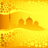 Golden mosque silhouette and pentagons pattern Stock Photography