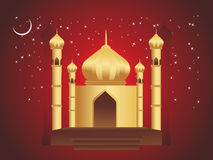 Golden mosques in over bright night sky Royalty Free Stock Photography
