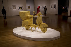Golden motorbike artwork museum Royalty Free Stock Images