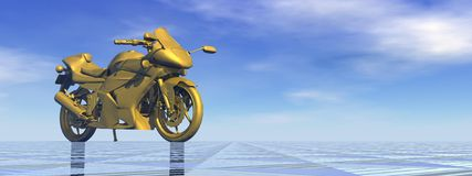 Golden motorbike - 3D render Stock Images