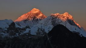 Golden mount Everest and Nuptse Royalty Free Stock Photos
