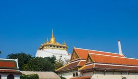 The Golden Mount pagoda in Wat Saket Ratcha Wora Maha Wihan, Bangkok, Thailand. High on the mountain Stock Photos