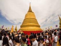 Golden Mount Temple, Bangkok, Thailand. Bangkok, Thailand - June 4, 2012: Large crowds of people gather at the Golden Mount Temple during the Visaka Bucha Day Royalty Free Stock Photo