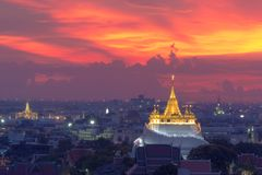Golden Mount Temple the most travel Landmark. Of Bangkok Thailand during sunset Unseen in Thailand royalty free stock photo