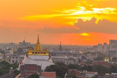 Golden Mount Temple the most travel Landmark. Of Bangkok Thailand during sunset Unseen in Thailand royalty free stock photos