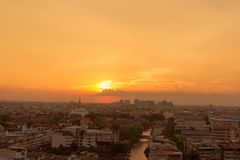 Golden Mount Temple the most travel Landmark. Of Bangkok Thailand during sunset Unseen in Thailand stock photos