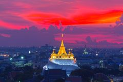 Golden Mount Temple the most travel Landmark. Of Bangkok Thailand during sunset Unseen in Thailand royalty free stock images