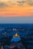 Golden Mount temple after sunset, The tourist destination in Bangkok Thailand Stock Images