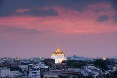 Golden mount temple wat sraket rajavaravihara at sunset Stock Image