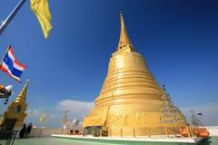 Golden Mount with thai flag at Wat sraket Stock Photos