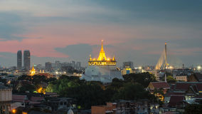 The Golden Mount at Wat Saket, Travel Landmark of Bangkok THAILA Royalty Free Stock Images