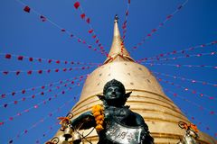 The golden mount Wat Sraket Rajavaravihara. At Thailand royalty free stock photos