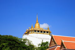 Golden mountain, an ancient pagoda at Wat Saket temple Royalty Free Stock Photo