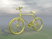 Golden mountain bike - 3D render Stock Images