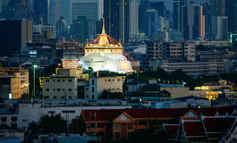 Golden mountain important traveling destination in bangkok thailand Stock Photography