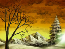 Golden Mountain Landscape. Digital painting of a snow covered mountain under a golden cloudy sky Stock Images