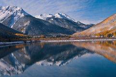 Golden Mountain Majesty On Red Mountain Pass. This single exposure image was taken at Crystal Lake on Red Mountain Pass between Ouray and Silverton, Colorado Royalty Free Stock Photo