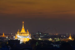 Golden mountain temple after sunset Royalty Free Stock Image