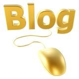Golden mouse and blog. 3d golden mouse and blog isolated on white back Stock Photos
