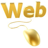 Golden mouse and web Stock Image