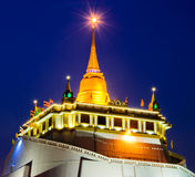 Golden Moutain temple in bangkok. Twilight Stock Photos