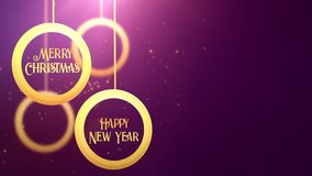 Golden moving bauble ball falling down Merry Christmas Happy New year festive seasonal celebration placeholder purple